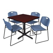 Regency 36-inch Square Laminate Table with 4 Chairs, Blue