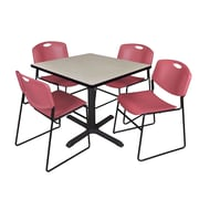 Regency 30-inch Square Laminate Table with 4 Chairs, Burgundy