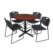 "Regency Cain 36"" Round Breakroom Table in Cherry With 4 Zeng Stack Chairs in Black (TB36RNDCH44BK)"