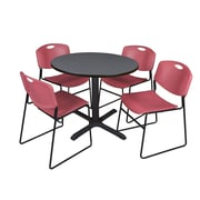 "Regency Cain 36"" Round Breakroom Table with 4 Zeng Stack Chairs, Grey Table and Burgundy Chairs (TB36RNDGY44BY)"