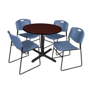 "Regency Cain 36"" Round Break Room Table, Mahogany and 4 Zeng Stack Chairs, Blue (TB36RNDMH44BE)"