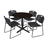 Regency 36-inch Laminate Round Shape Table with 4 Chairs, Mocha Walnut & Black