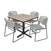 Regency 42-inch Square Laminate Table with 4 Chairs, Gray
