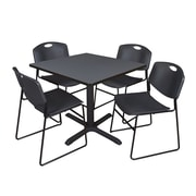Regency 42-inch Square Table with Cain Base & 4 Zeng Stack Chairs, Black