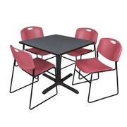 "Regency Cain 42"" Square Break Room Table, Gray and 4 Zeng Stack Chairs, Burgundy (TB4242GY44BY)"