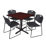 "Regency Cain 42"" Square Breakroom Table with 4 Zeng Stack Chairs, Mahogany Table, Black Chairs (TB4242MH44BK)"