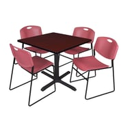 Regency 42-inch Square Table with 4 Zeng Stack Chairs, Mahogany & Burgundy