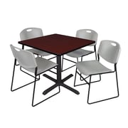 "Regency Cain 42"" Square Break Room Table, Mahogany and 4 Zeng Stack Chairs, Gray (TB4242MH44GY)"