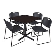Regency 42-inch Training & Hospitality Laminate Square Table with 4 Chairs, Black