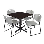 "Regency Cain 42"" Square Break Room Table, Mocha Walnut and 4 Zeng Stack Chairs, Gray (TB4242MW44GY)"