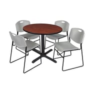 Regency 42-inch Round Table with Cain Base & 4 Zeng Stack Chairs, Cherry & Gray
