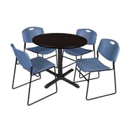 Regency 42-inch Laminate Round Table with Four Chairs, Mocha Walnut & Blue