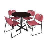 Regency 42-inch Laminate Round Table with Four Chairs, Mocha Walnut & Burgundy