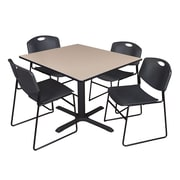 Regency 48-inch Square Laminate Table with 4 Zeng Stack Chairs, Beige & Black