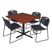 Regency 42-inch Square Laminate Cherry Table with 4 Zeng Stack Chairs, Black