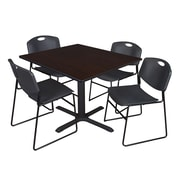 Regency 48-inch Laminate Square Table with 4 Zeng Stack Chairs, Mocha Walnut & Black