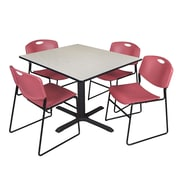 Regency 48-inch Laminate Square Table with Four Zeng Stack Chairs, Maple & Burgundy