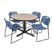Regency 48-inch Laminate Round Table with 4 Zeng Stack Chairs, Beige & Blue