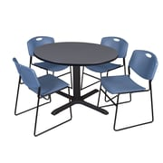Regency 48-inch Round Laminate Table with 4 Zeng Stack Chairs, Blue