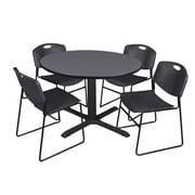 Regency 48-inch Round Laminate Table with 4 Zeng Stack Chairs, Black