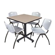 "Regency Kobe 36"" Square Break Room Table, Beige and 4 'M' Stack Chairs, Gray (TKB3636BE47GY)"