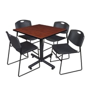Regency 36-inch Square Laminate Cherry Table with Zeng Stacker Chairs, Black