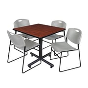 "Regency Kobe 36"" Square Break Room Table, Cherry and 4 Zeng Stack Chairs, Gray (TKB3636CH44GY)"