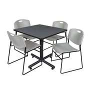 Regency 36-inch Square Kobe Break Room Table with Stack Chairs, Gray