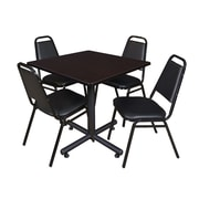"Regency Kobe 36"" Square Break Room Table, Mocha Walnut and 4 Restaurant Stack Chairs, Black (TKB3636MW29)"