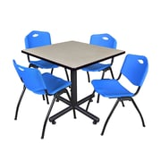 Regency 36-inch Square Laminate Table with Stacker Chairs, Blue