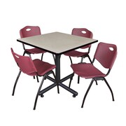 "Regency Kobe 36"" Square Break Room Table, Maple and 4 'M' Stack Chairs, Burgundy (TKB3636PL47BY)"