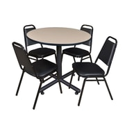 Regency 36-inch Round Laminate Table With 4 Restaurant Stack Chairs, Beige