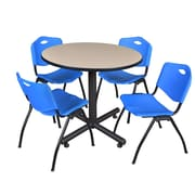 Regency 36-inch Round Laminate Table Beige with Stacker Chairs, Blue