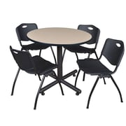 Regency 36-inch Round Laminate Table Beige with Stacker Chairs, Black