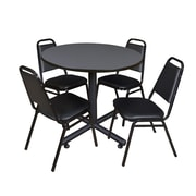 Regency 36-inch Round Laminate Table With 4 Restaurant Stack Chairs, Gray