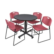 Regency 36-inch Round Laminate Grey Table With 4 Zeng Stacker Chairs, Burgundy
