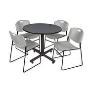 Regency 36-inch Round Laminate Grey Table With 4 Zeng Stacker Chairs, gray