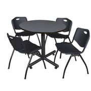 Regency 36-inch Round Laminate Grey Table with 4 M Stacker Chairs, Black
