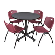 Regency 36-inch Round Laminate Grey Table with 4 M Stacker Chairs, Burgundy
