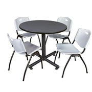 Regency 36-inch Round Laminate Grey Table with 4 M Stacker Chairs, Gray