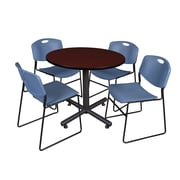 Regency 36-inch Round Laminate Mahogany Table with Zeng Stacker Chairs, Blue