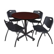 Regency 36-inch Round Laminate Mahogany Table with 4 M Stacker Chairs, Black