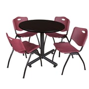 Regency 36-inch Round Kobe Break Room Table with Stack Chairs, Burgundy