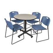 Regency 36-inch Round Table Maple With 4 Zeng Stacker Chairs, Blue