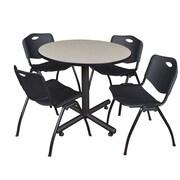 "Regency Kobe 36"" Round Break Room Table, Maple and 4 'M' Stack Chairs, Black (TKB36RNDPL47BK)"