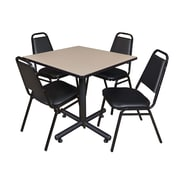 Regency 42-inch Square Laminate Beige & Kobe Base Table With 4 Restaurant Stack Chairs, Beige