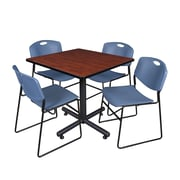 Regency 42-inch Square Laminate Table Cherry With Zeng Stacker Chairs, Blue