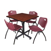 Regency 42-inch Square Laminate Room Table with 4 Stack Chairs, Burgundy