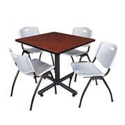 "Regency Kobe 42"" Square Cherry Breakroom Table with 4 Grey M Stack Chairs (TKB4242CH47GY)"