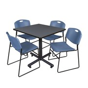 "Regency Kobe 42"" Square Break Room Table, Gray and 4 Zeng Stack Chairs, Blue (TKB4242GY44BE)"